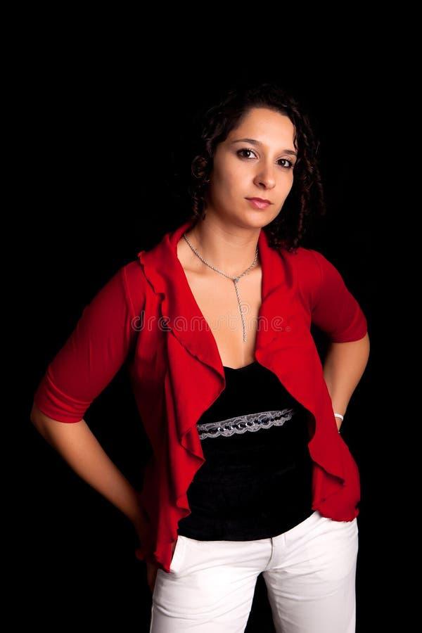 Junge und schöne Frauenaufstellung stockfoto