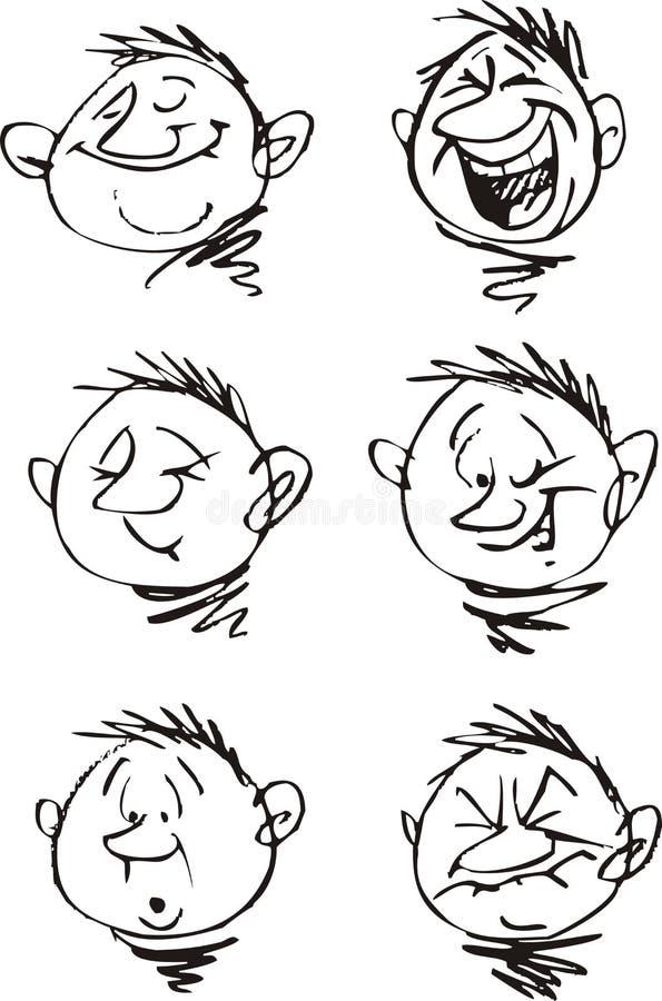 Junge und seine Gesichter lizenzfreie abbildung