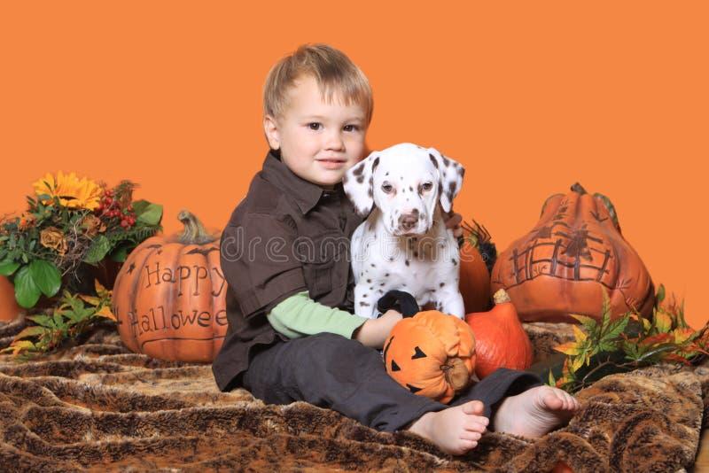 Junge und Welpe in der Halloween-Dekoration lizenzfreie stockfotografie