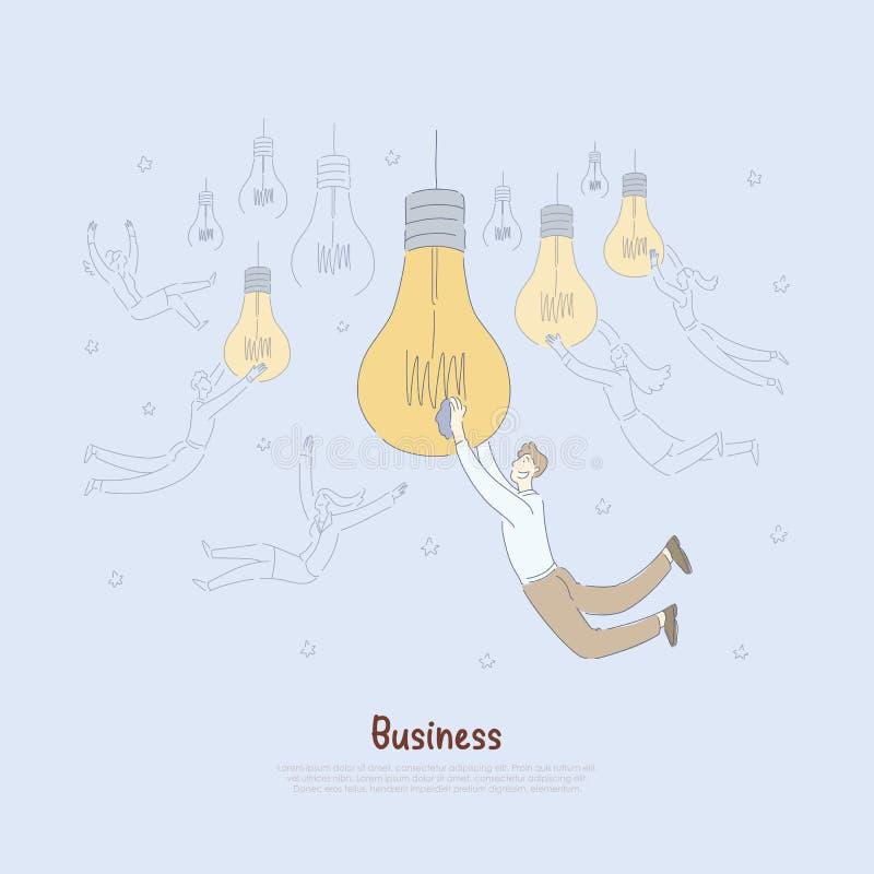 Junge Unternehmer, die große Glühlampen, kreative Startideengenerationsmetapher, Geistesblitzfahne halten lizenzfreie abbildung