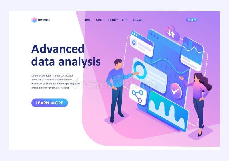 Junge Unternehmerprüfungsberichte des isometrischen Konzeptes und Daten analysieren Landungsseite der Schablone für Website stock abbildung