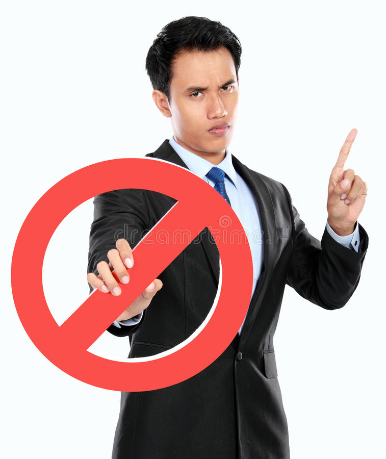 Junge verbotenes Zeichen des Geschäftsmannes Holding lizenzfreies stockbild