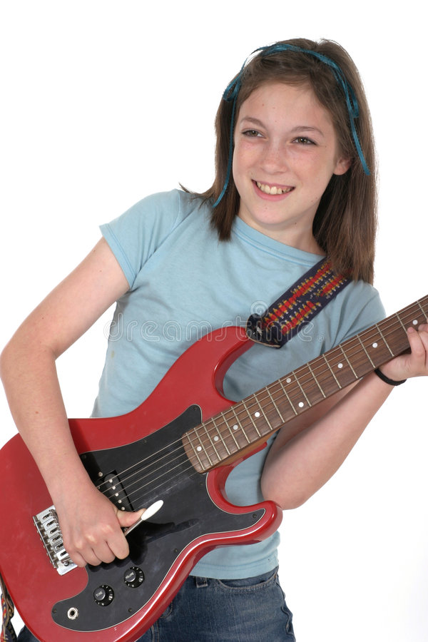 Junge-vor jugendlich Mädchen, das Gitarre 4 spielt stockbilder