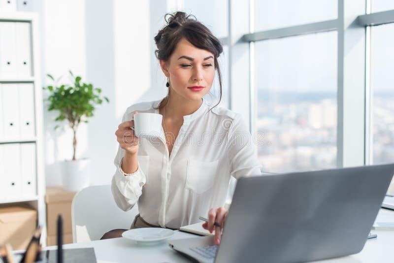 Junge weibliche Geschäftsperson, die im Büro unter Verwendung des Laptops, Lesung arbeitet und aufmerksam Informationen, trinkend lizenzfreies stockbild