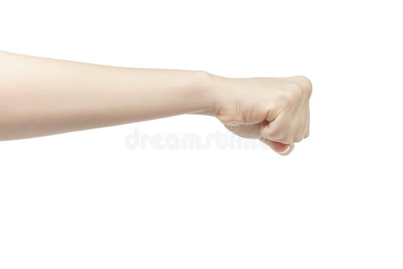 Junge weibliche rechte Hand zeigt Faust lizenzfreies stockbild