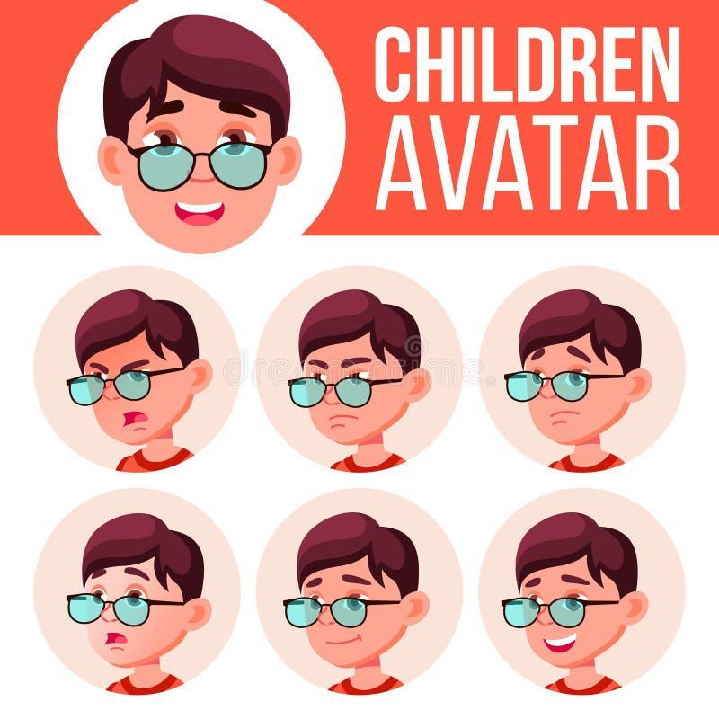 Jungen-Avatara-gesetzter Kindervektor Der Lehrer erlernt den Jungen, um zu lesen Stellen Sie Gefühle gegenüber Gesichtsbehandlung stock abbildung