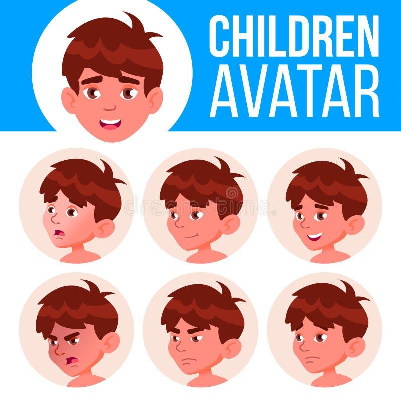 Jungen-Avatara-gesetzter Kindervektor kindergarten Stellen Sie Gefühle gegenüber Porträt, Benutzer, Kind Jüngeres, Vorschule, Kle lizenzfreie abbildung