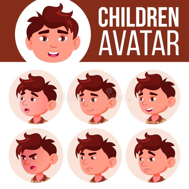 Jungen-Avatara-gesetzter Kindervektor kindergarten Stellen Sie Gefühle gegenüber Vorschule, Baby, Ausdruck Geburt, Leben, emotion lizenzfreie abbildung