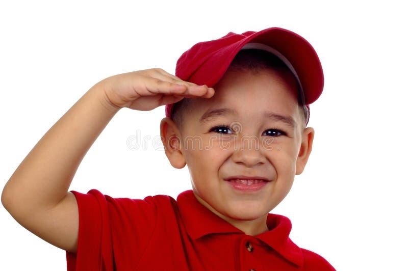 Jungen-Begrüßung stockfoto