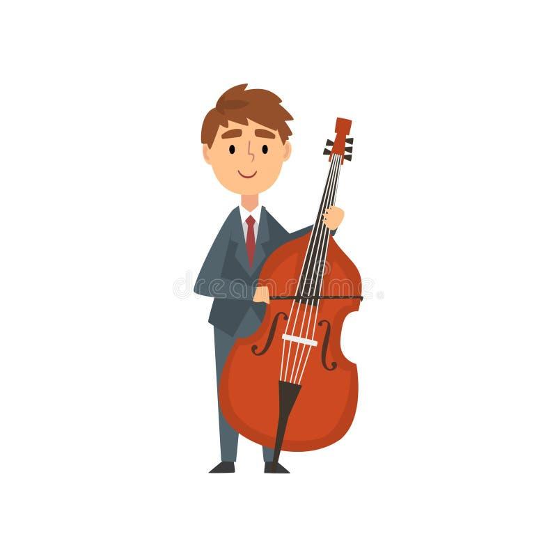 Jungen-Cello-Spieler, begabter junger Cellist-Charakter, der akustisches Musikinstrument, Konzert der klassischen Musik spielt stock abbildung