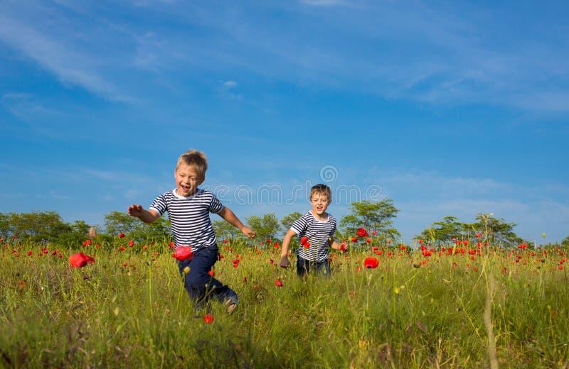 Jungen, die auf der Wiese spielen stockbilder