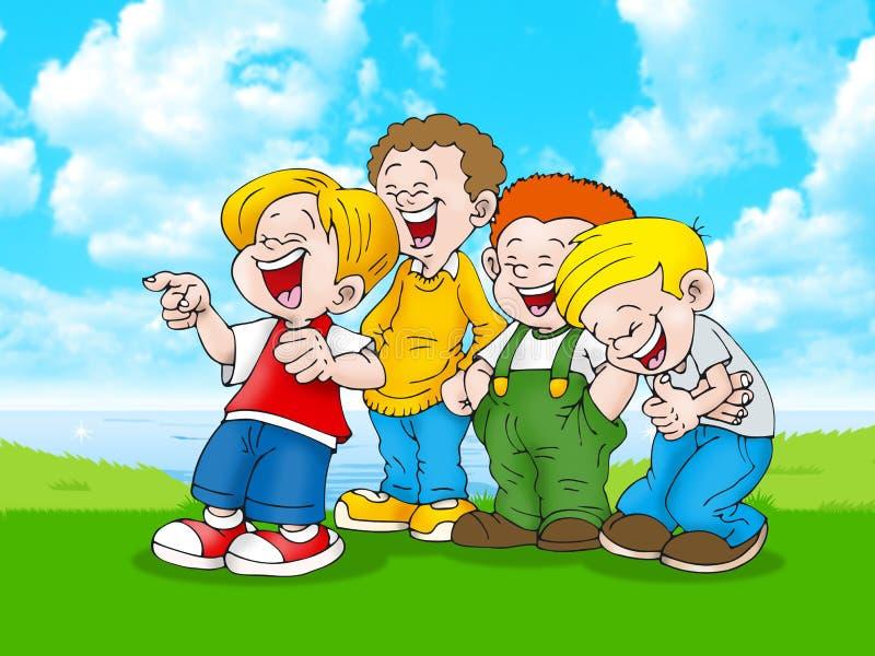 Jungen, die auf im Freien lachen stock abbildung