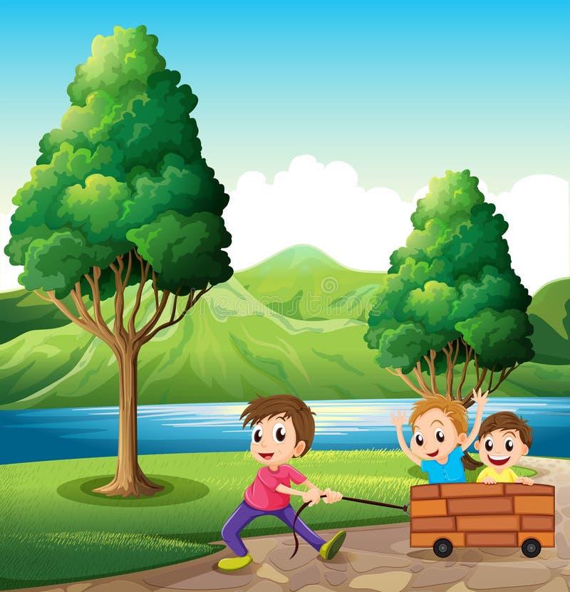 Jungen, die am Riverbank spielen vektor abbildung