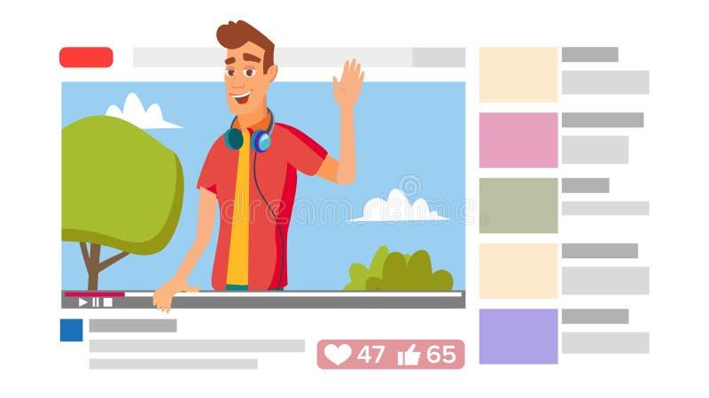 Jungen-führendes on-line-Gerinne On-line-Internet, das Videokonzept strömt Flache Illustration der Karikatur vektor abbildung