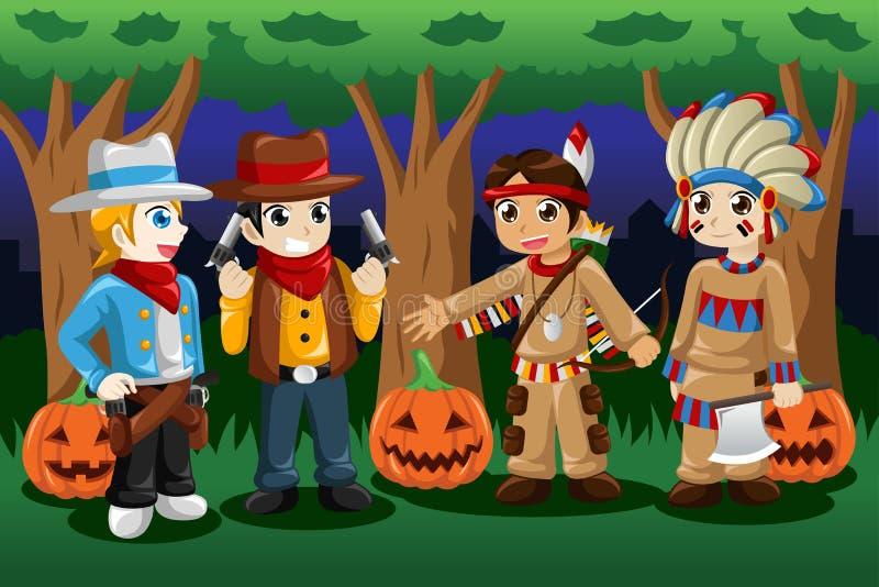 Jungen gekleidet herauf als Cowboys und amerikanische Ureinwohner stock abbildung
