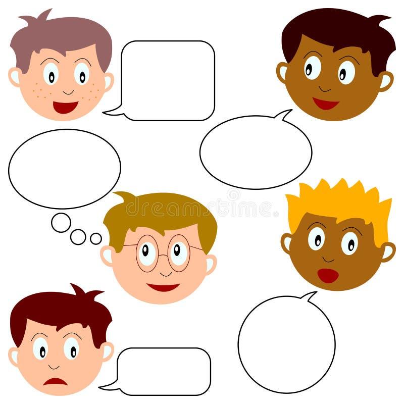 Jungen-Gesichter mit Sprache-Luftblasen vektor abbildung