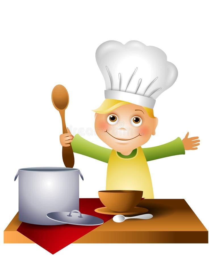 Jungen-Kind in Chef-Hut 2 stock abbildung