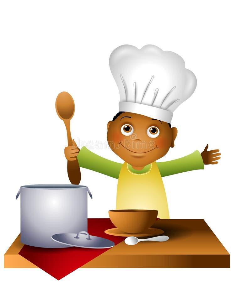 Jungen-Kind im Chef-Hut lizenzfreie abbildung