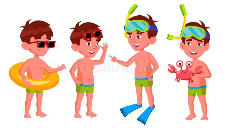 Jungen-Kindergarten-Kinderhaltungen eingestellter Vektor vortraining Junge positive Person unbearbeitet Krasnodar Gegend, Katya W vektor abbildung
