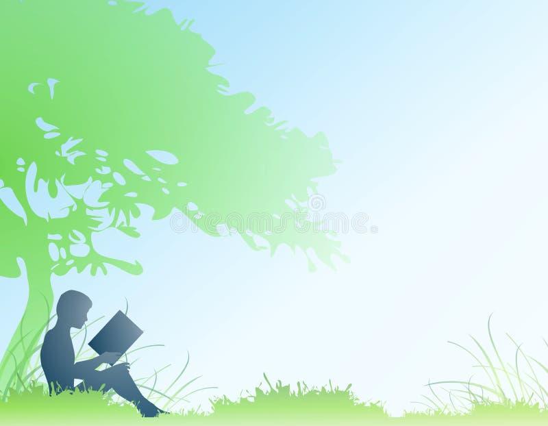 Jungen-Lesebuch unter Baum lizenzfreie abbildung