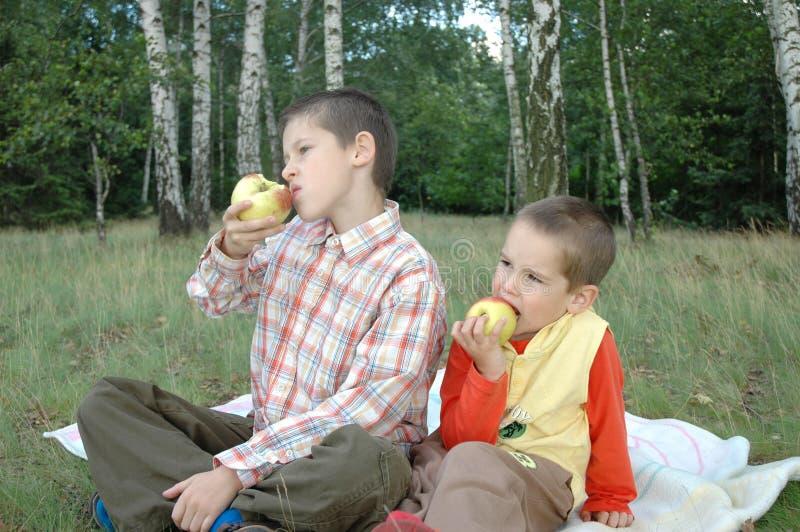 Jungen mit Äpfeln stockbild