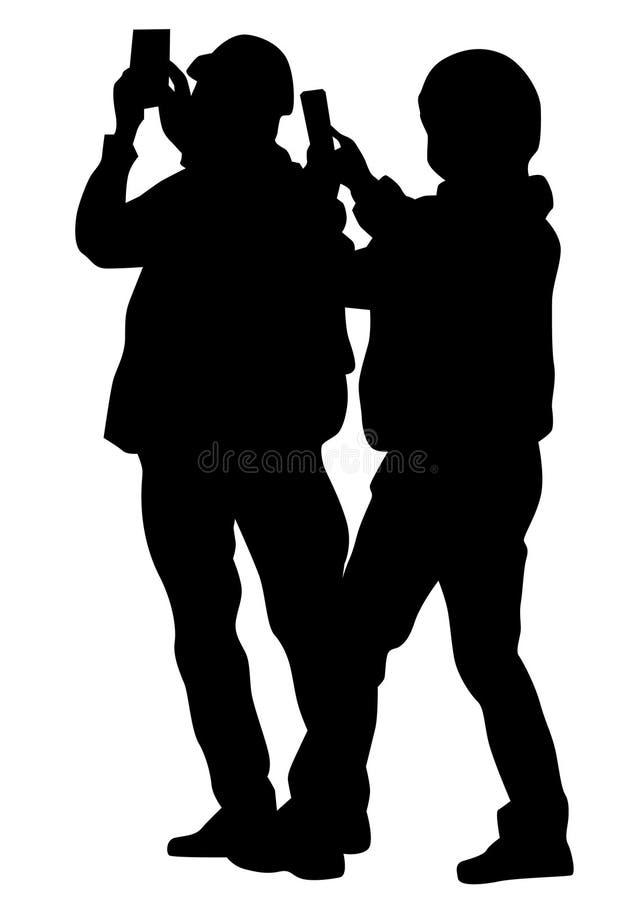 Jungen mit Telefon lizenzfreie abbildung