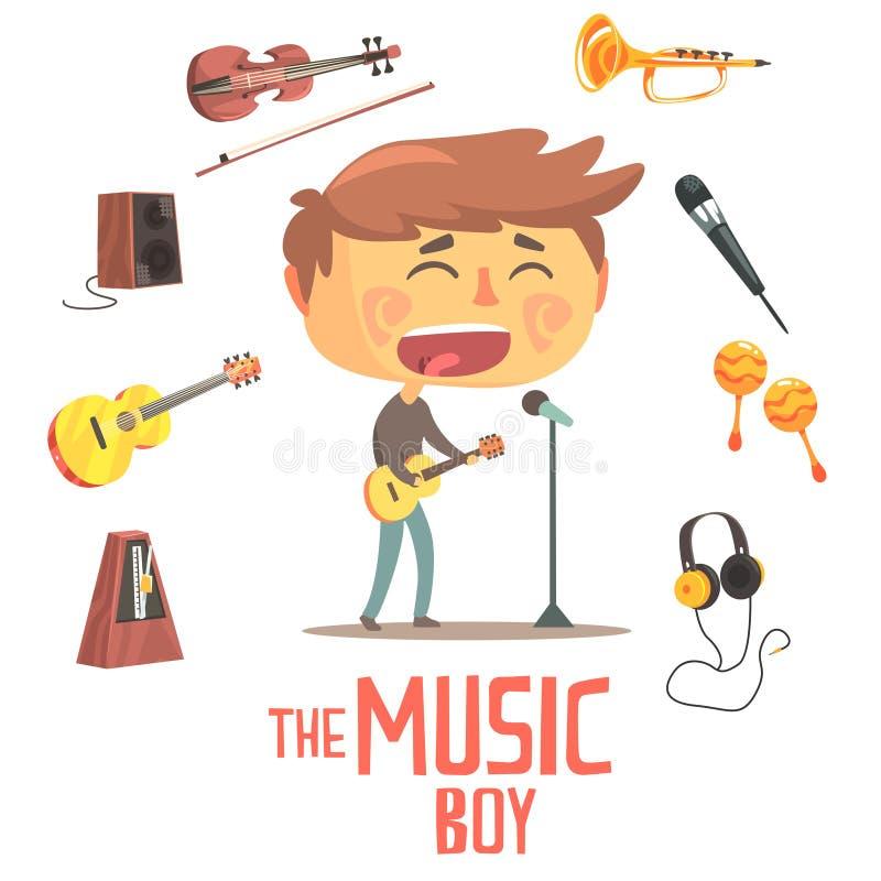 Jungen-Sänger And Musician, Kinderzukünftige Traumberufsbesetzungs-Illustration mit in Verbindung stehendem mit Beruf-Gegenstände lizenzfreie abbildung
