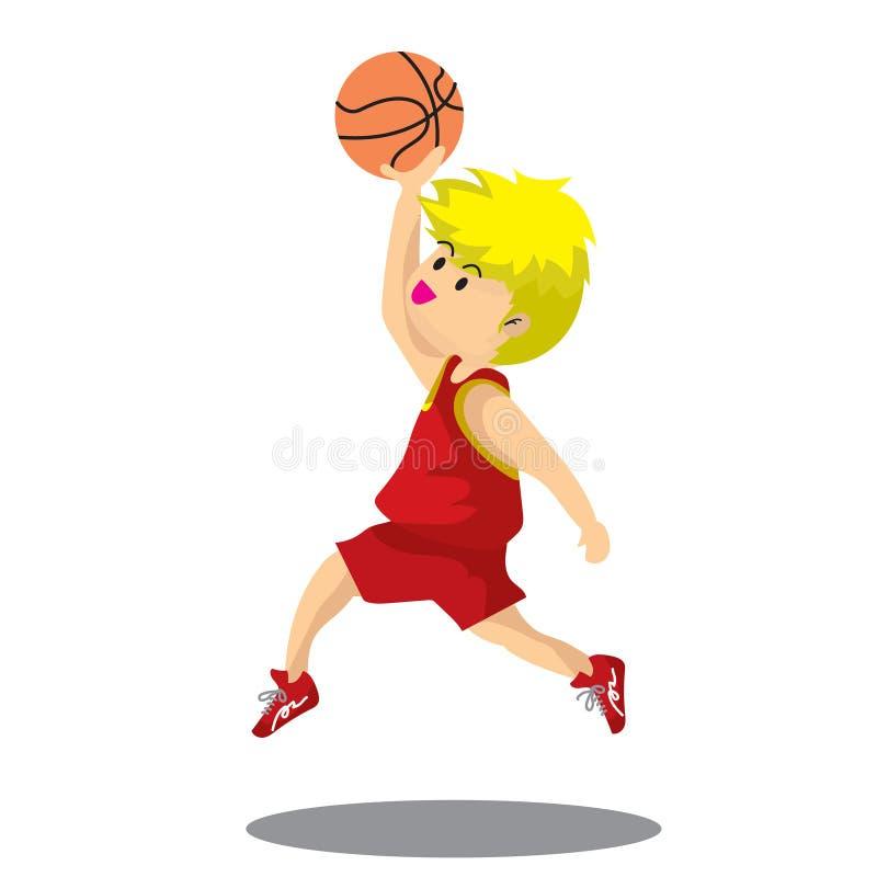 Jungen-Spiel-Basketballcharakterdesign-Karikaturkunst Mehrfarben stockbild
