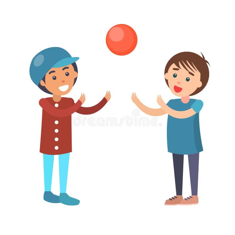 Jungen-Spiel in Volleyball lokalisierter Illustration vektor abbildung