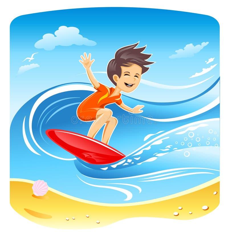 Jungen-Surfer-Vektor vektor abbildung