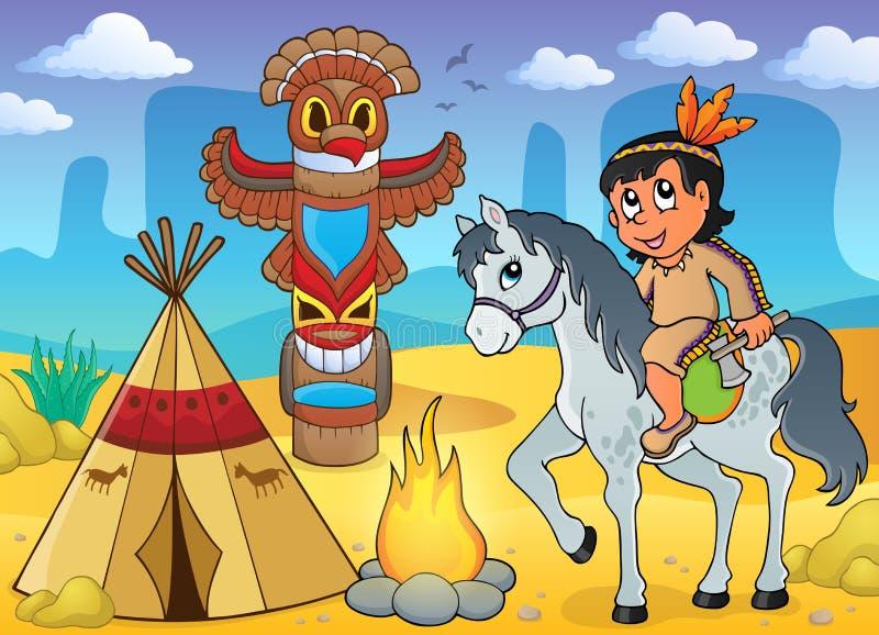 Jungen-Themabild 4 des amerikanischen Ureinwohners stock abbildung