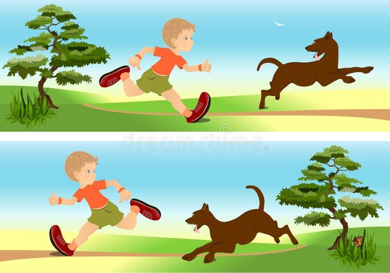 Jungen- und Hundespielen stock abbildung