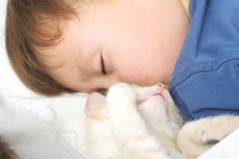 Jungen- und Katzenschlafenbonbon stockbild