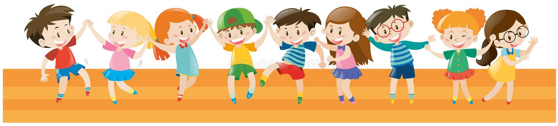 Jungen und Mädchen, die zusammen tanzen stock abbildung