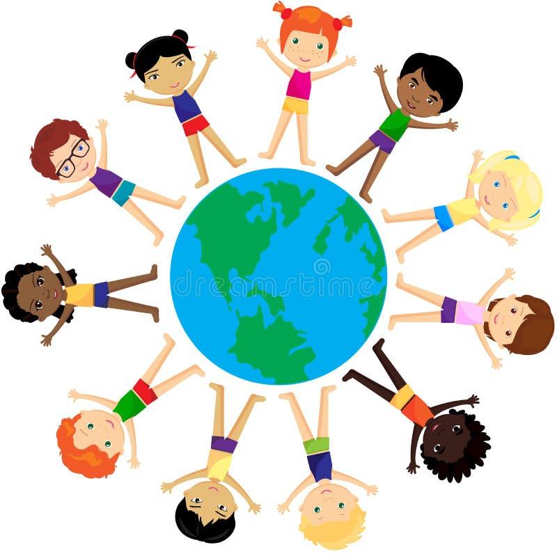 Jungen und Mädchen Europäer, Afrikaner, Chinesen, Japaner, Russe, vektor abbildung