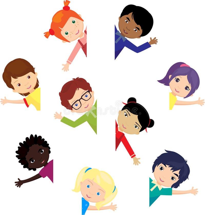 Jungen und Mädchen Europäer, Afrikaner, Chinesen, Japaner, Russe, lizenzfreie abbildung