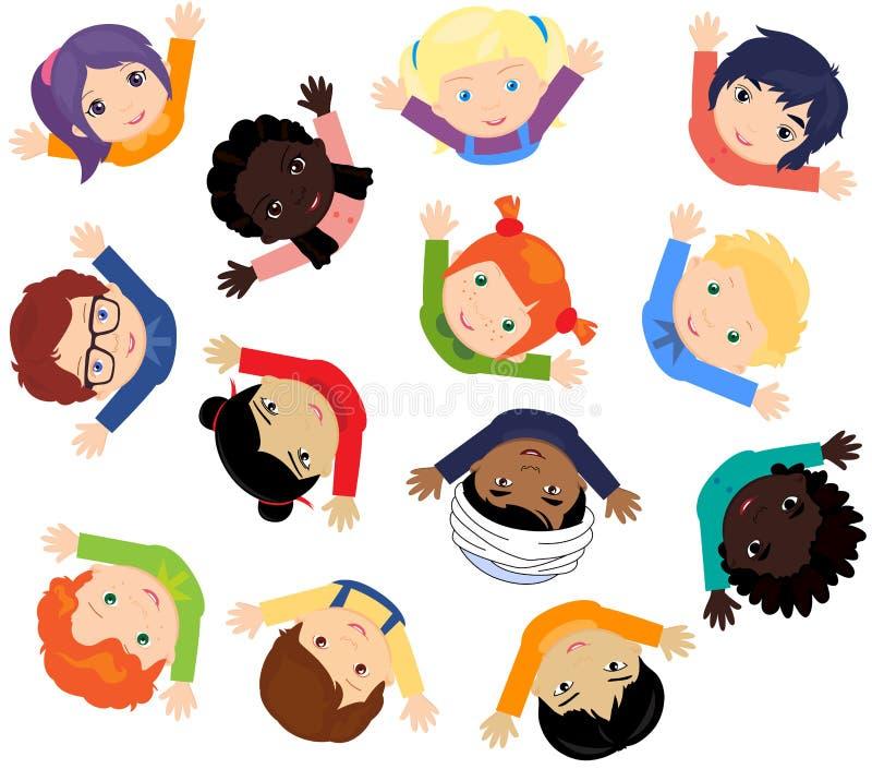 Jungen und Mädchen Europäer, Afrikaner, Chinesen, Japaner, Russe, stock abbildung