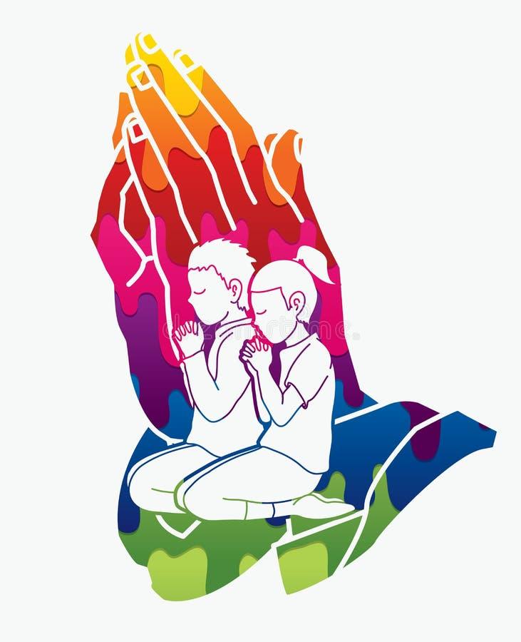 Jungen-und Mädchen-Gebet, christliches Beten, Lob-Gott lizenzfreie abbildung