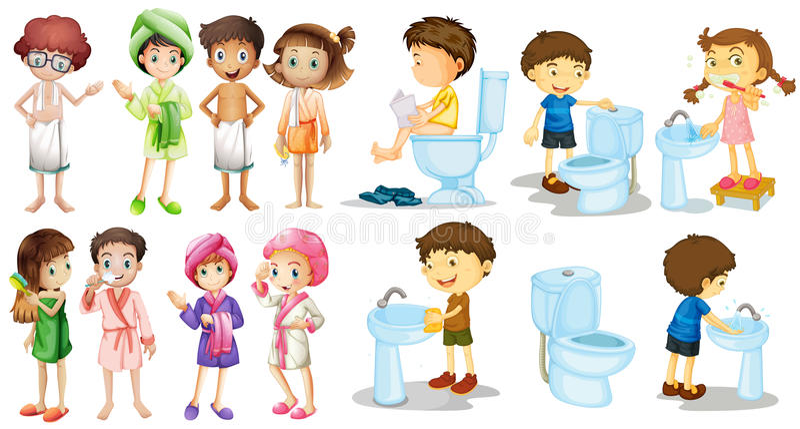 Jungen und Mädchen im Bademantel stock abbildung