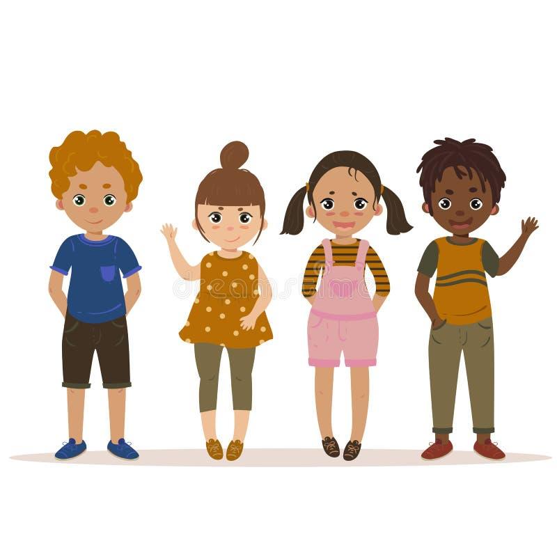 Jungen und Mädchen-Kindergesetzte Karikatur Vektor stock abbildung