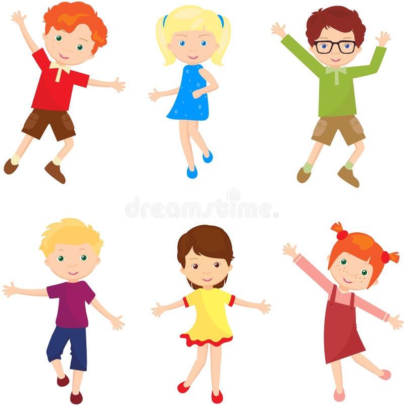 Jungen und Mädchen springen, lachen und tanzen zusammen lizenzfreie abbildung