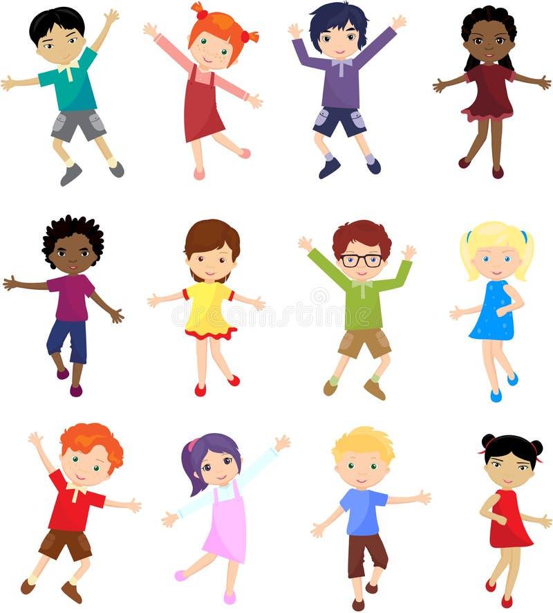 Jungen und Mädchen springen, lachen und tanzen zusammen vektor abbildung