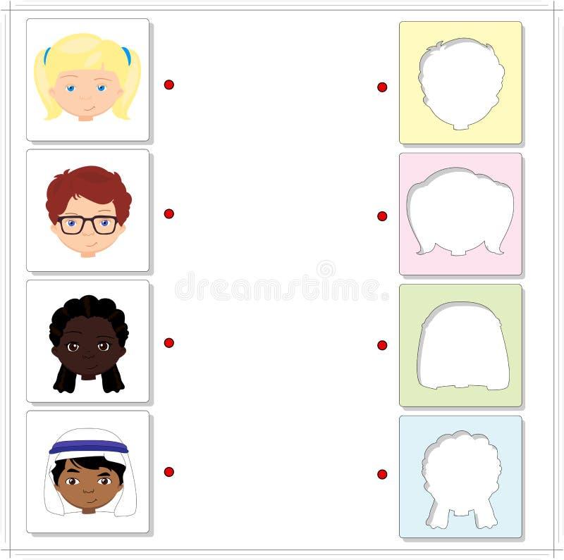Jungen und Mädchen von verschiedenen Nationalitäten Lernspiel für lizenzfreie abbildung