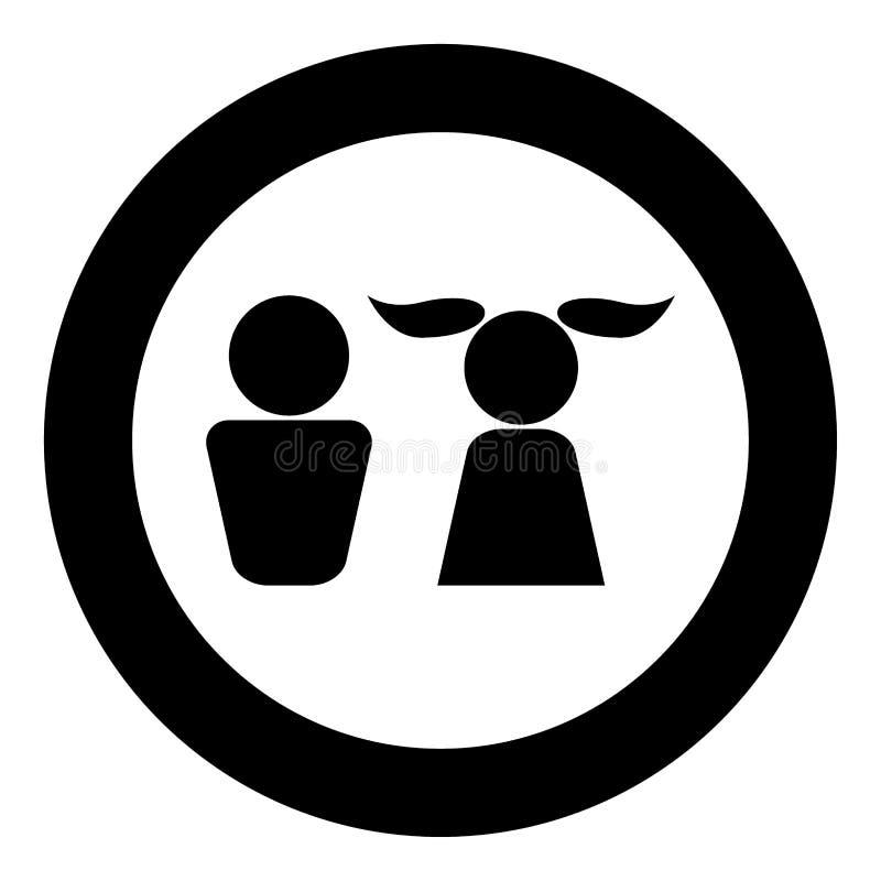 Jungen- und Mädchenikone schwärzen Farbe im Kreis lizenzfreie abbildung