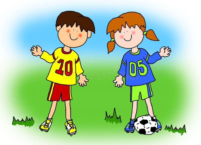 Jungen- und Mädchenkarikaturfußballspieler vektor abbildung