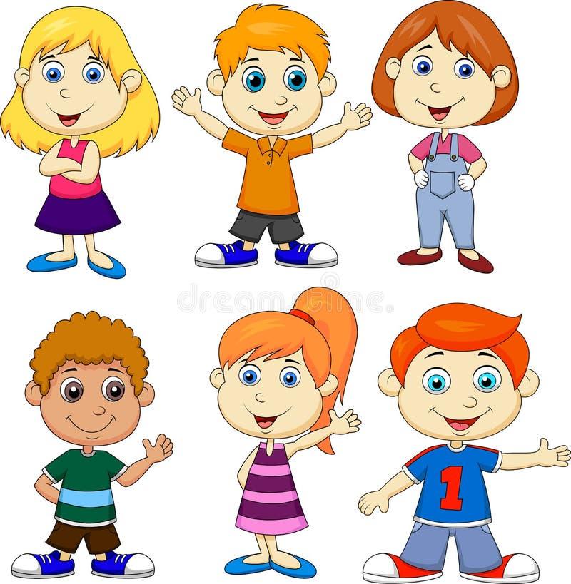 Jungen- und Mädchenkarikatursatz vektor abbildung
