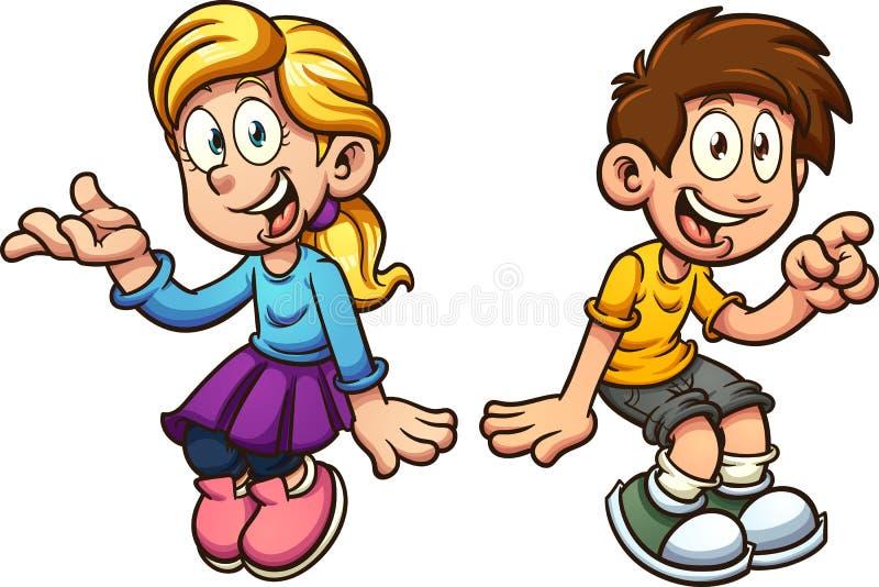 Jungen- und Mädchensitzen stock abbildung