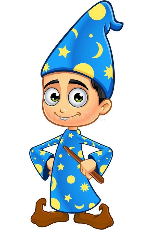Jungen-Zauberer in den blau- Händen auf Hüften vektor abbildung