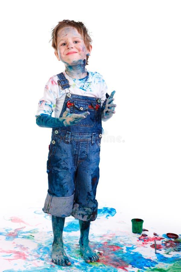 Jungenanstrich lizenzfreies stockfoto