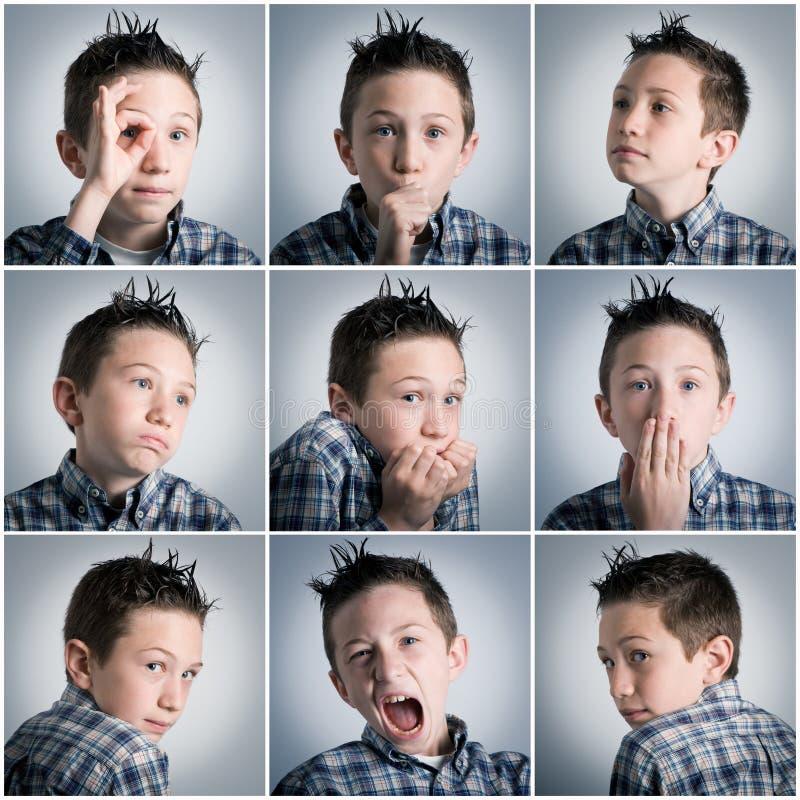 Jungenausdrücke lizenzfreies stockfoto